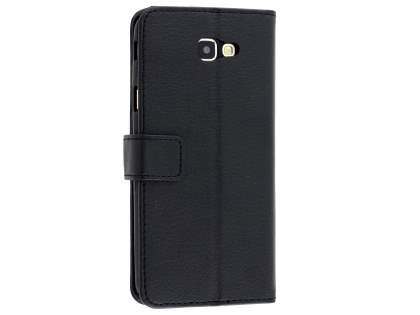 Synthetic Leather Wallet Case with Stand for Samsung Galaxy J5 Prime - Classic Black Leather Wallet Case