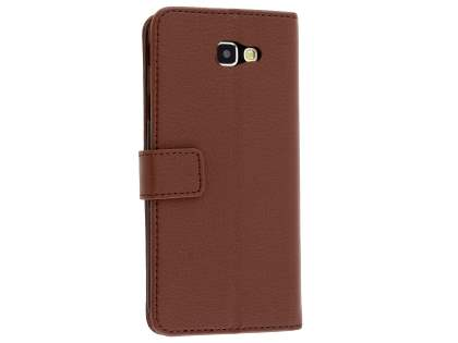 Synthetic Leather Wallet Case with Stand for Samsung Galaxy J5 Prime - Brown Leather Wallet Case