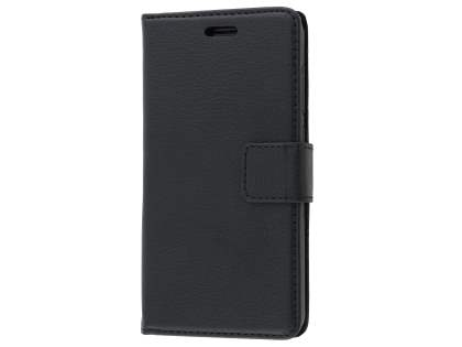 Synthetic Leather Wallet Case with Stand for HTC Telstra Signature Premium - Classic Black