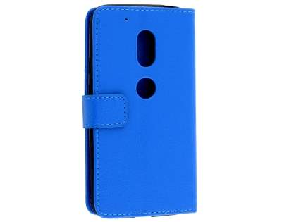 Slim Synthetic Leather Wallet Case with Stand for Motorola Moto G4 Play - Blue Leather Wallet Case
