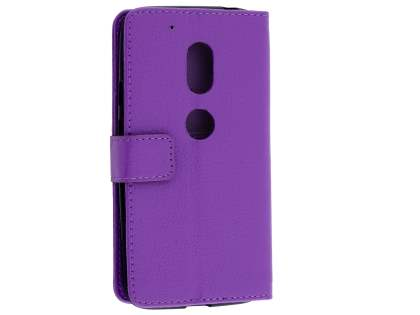Slim Synthetic Leather Wallet Case with Stand for Motorola Moto G4 Play - Purple Leather Wallet Case
