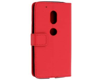 Slim Synthetic Leather Wallet Case with Stand for Motorola Moto G4 Play - Red Leather Wallet Case