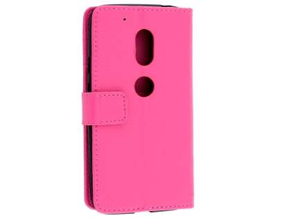 Slim Synthetic Leather Wallet Case with Stand for Motorola Moto G4 Play - Pink Leather Wallet Case