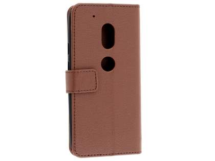 Slim Synthetic Leather Wallet Case with Stand for Motorola Moto G4 Play - Brown Leather Wallet Case