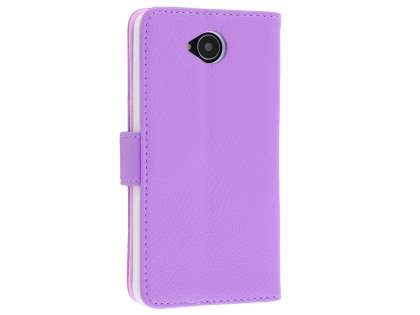 Slim Synthetic Leather Wallet Case with Stand for Microsoft Lumia 650 - Purple Leather Wallet Case