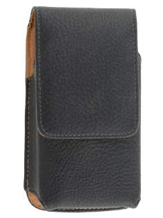 Textured Synthetic Leather Vertical Belt Pouch for ZTE - Classic Black Belt Pouch