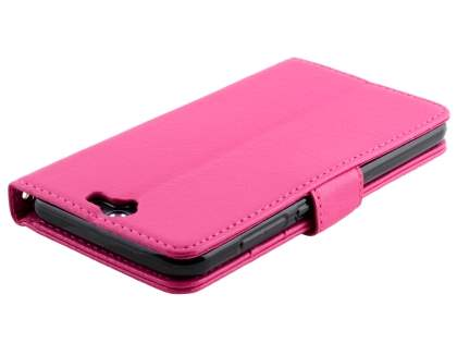 HTC Telstra Signature Premium Synthetic Leather Wallet Case with Stand - Pink
