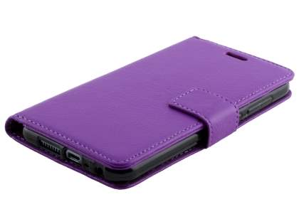 HTC Telstra Signature Premium Synthetic Leather Wallet Case with Stand - Purple