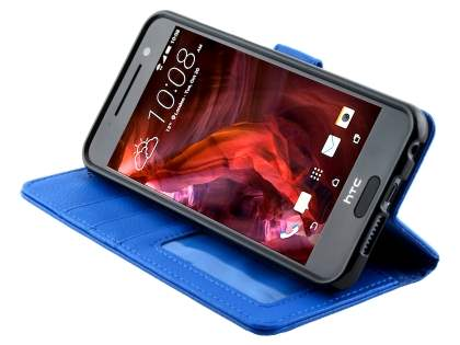HTC Telstra Signature Premium Synthetic Leather Wallet Case with Stand - Blue
