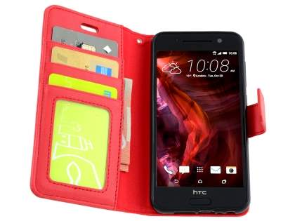 HTC Telstra Signature Premium Synthetic Leather Wallet Case with Stand - Red