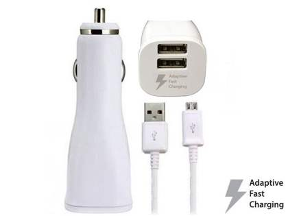 Samsung Adaptive Fast Charging Dual-Port Car Charger with 1.2m Micro USB cable - White Car Charger