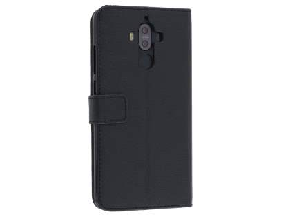 Synthetic Leather Wallet Case with Stand for Huawei Mate 9 - Classic Black Leather Wallet Case