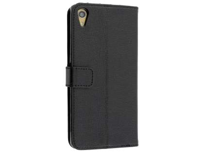 Slim Synthetic Leather Wallet Case with Stand for Sony Xperia Z5 Premium - Classic Black Leather Wallet Case