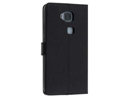 Synthetic Leather Wallet Case with Stand for Huawei G8 - Classic Black Leather Wallet Case
