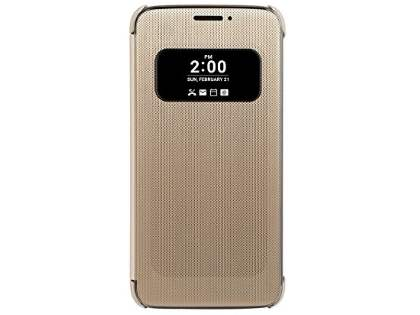 Official LG G5 Mesh Folio Quick Cover Case - Gold Leather Flip Case