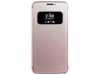 Official LG G5 Mesh Folio Quick Cover Case - Pink Leather Flip Case