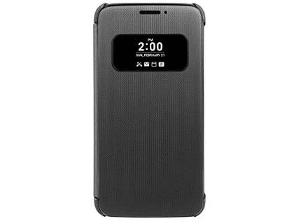 Official LG G5 Mesh Folio Quick Cover Case - Titan Black Leather Flip Case