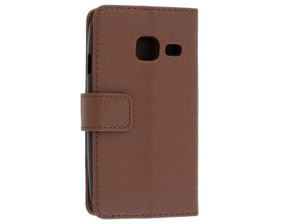 Slim Synthetic Leather Wallet Case with Stand for Samsung Galaxy J1 mini - Dark Brown Leather Wallet Case