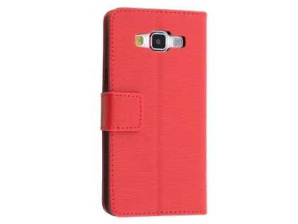 Slim Synthetic Leather Wallet Case with Stand for Samsung Galaxy J1 (2016) - Red Leather Wallet Case