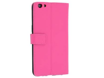 Slim Synthetic Leather Wallet Case with Stand for Oppo R9s - Pink Leather Wallet Case