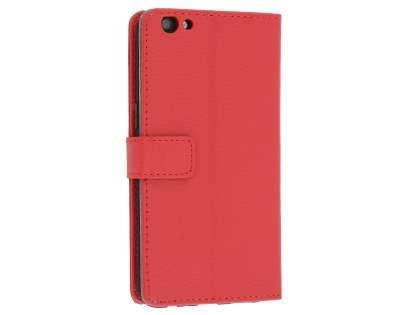 Slim Synthetic Leather Wallet Case with Stand for Oppo R9s - Red Leather Wallet Case
