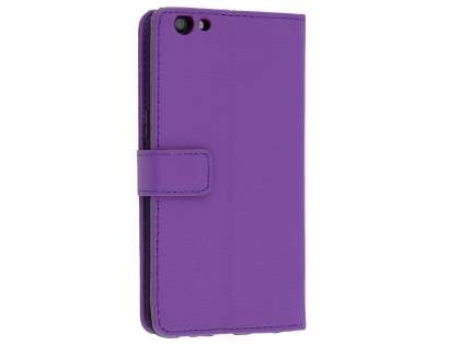 Slim Synthetic Leather Wallet Case with Stand for Oppo R9s - Purple Leather Wallet Case
