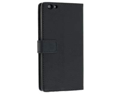 Slim Synthetic Leather Wallet Case with Stand for Oppo R9s - Classic Black Leather Wallet Case