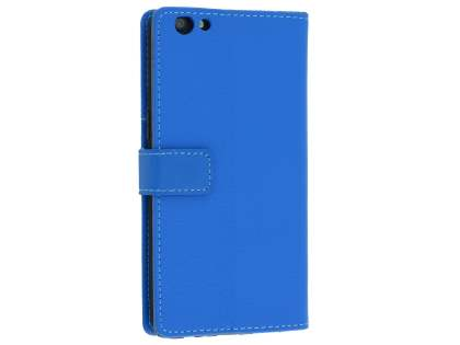 Slim Synthetic Leather Wallet Case with Stand for Oppo R9s - Blue Leather Wallet Case