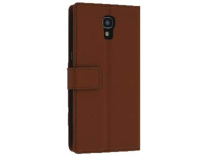 Telstra Signature Enhanced Slim Synthetic Leather Wallet Case with Stand - Dark Brown Leather Wallet Case