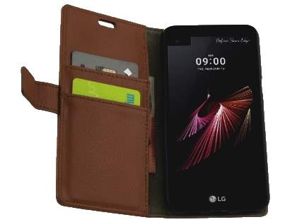 Slim Synthetic Leather Wallet Case with Stand for Telstra Signature Enhanced - Dark Brown