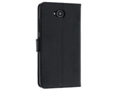 Slim Synthetic Leather Wallet Case with Stand for Microsoft Lumia 650 - Black Leather Wallet Case