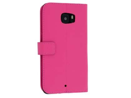 HTC U Ultra Slim Synthetic Leather Wallet Case with Stand - Pink Leather Wallet Case