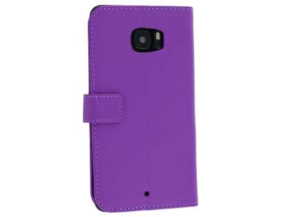 HTC U Ultra Slim Synthetic Leather Wallet Case with Stand - Purple Leather Wallet Case