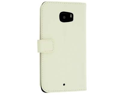 Slim Synthetic Leather Wallet Case with Stand for HTC U Ultra - Pearl White Leather Wallet Case