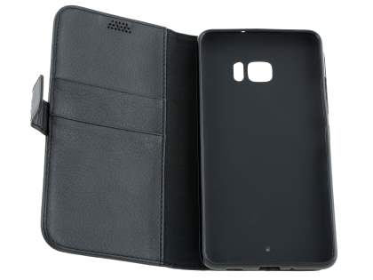 Slim Synthetic Leather Wallet Case with Stand for HTC U Ultra - Classic Black