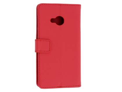 HTC U Play Slim Synthetic Leather Wallet Case with Stand - Red Leather Wallet Case