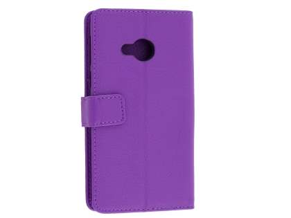 HTC U Play Slim Synthetic Leather Wallet Case with Stand - Purple Leather Wallet Case