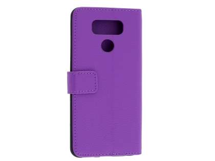 LG G6 Slim Synthetic Leather Wallet Case with Stand - Purple Leather Wallet Case