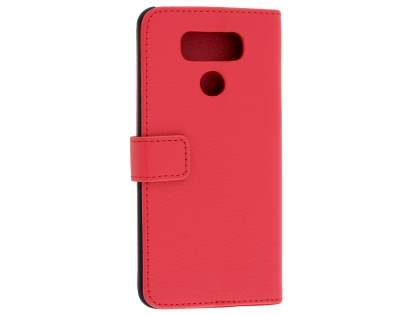 Slim Synthetic Leather Wallet Case with Stand for LG G6 - Red Leather Wallet Case