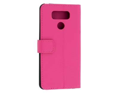 LG G6 Slim Synthetic Leather Wallet Case with Stand - Pink Leather Wallet Case