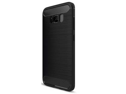 Flexible Carbon Fibre Style Case for Samsung Galaxy S8 - Black Soft Cover