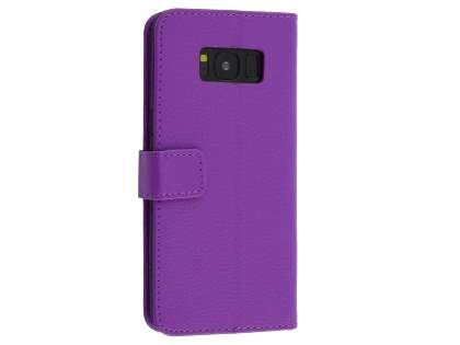 Synthetic Leather Wallet Case with Stand for Samsung Galaxy S8 - Purple Leather Wallet Case