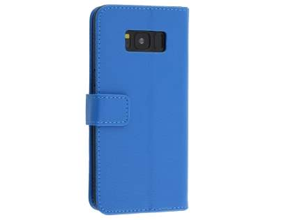 Synthetic Leather Wallet Case with Stand for Samsung Galaxy S8 - Blue Leather Wallet Case