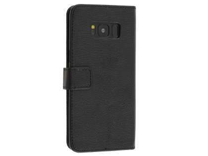 Synthetic Leather Wallet Case with Stand for Samsung Galaxy S8 - Black Leather Wallet Case