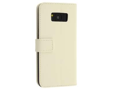 Synthetic Leather Wallet Case with Stand for Samsung Galaxy S8 - Pearl White Leather Wallet Case