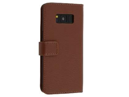 Synthetic Leather Wallet Case with Stand for Samsung Galaxy S8 - Brown Leather Wallet Case