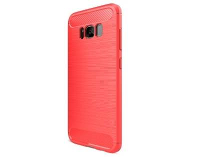 Flexible Carbon Fibre Style Case for Samsung Galaxy S8 - Fluorescent Coral Soft Cover