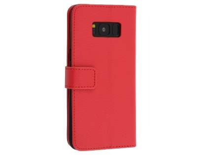 Synthetic Leather Wallet Case with Stand for Samsung Galaxy S8 - Red Leather Wallet Case