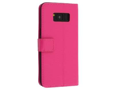 Synthetic Leather Wallet Case with Stand for Samsung Galaxy S8 - Pink Leather Wallet Case
