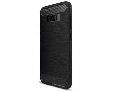 Flexible Carbon Fibre Style Case for Samsung Galaxy S8+ - Black Soft Cover